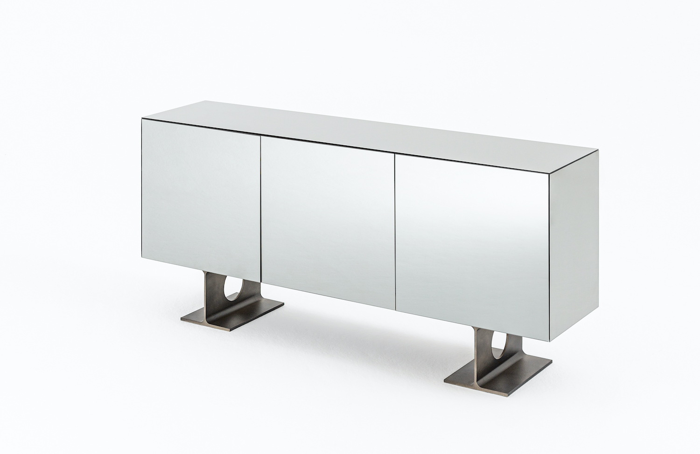 Mirror clad Milan cabinet designed by Spinzi